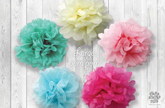 Paper pompom large size / choose color pink by StarsStripesAndDots, €2.99
