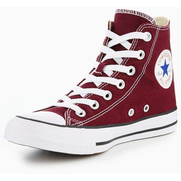 Converse Chuck Taylor All Star Hi-Tops (3.290 RUB) ❤ liked on Polyvore featuring shoes, sneakers, converse, textile shoes, burgundy sneakers, hi tops, cap toe shoes and high top trainers