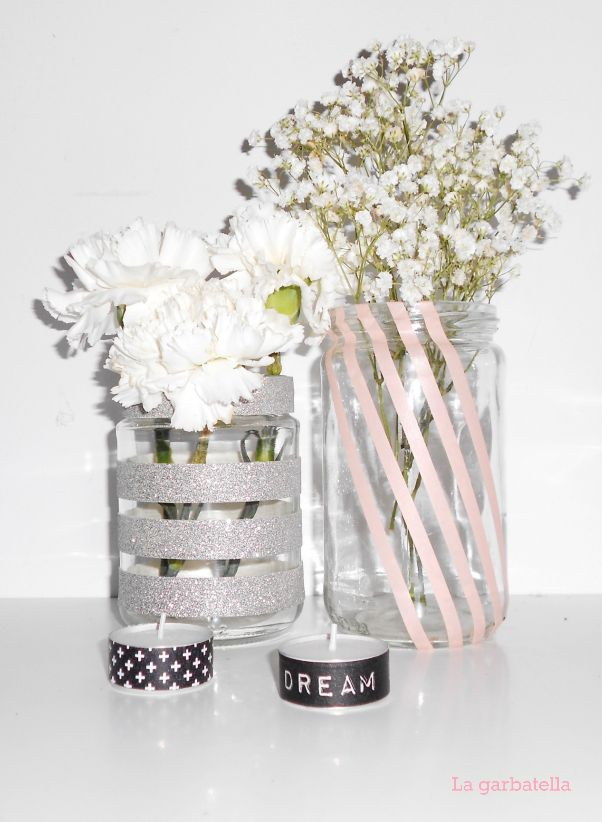 DIY: mis jarrones con washi tape | La Garbatella: blog de decoración de estilo nórdico, DIY, diseño y cosas bonitas.