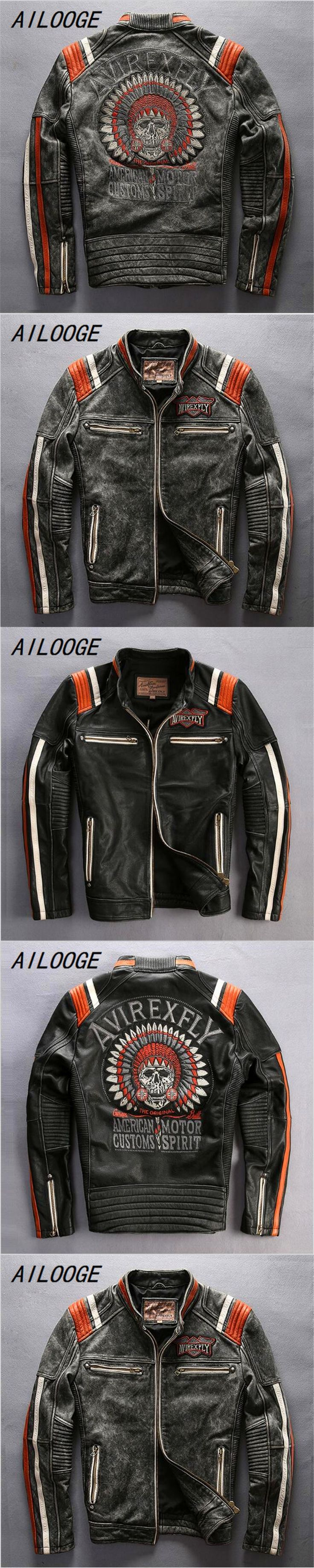 AILOOGE 2017 Mans Genuine Cow Leather Motorcycle Rider Jacket Vintage Stand Collar Embroidery Leather Motorcycle Rider Jacket