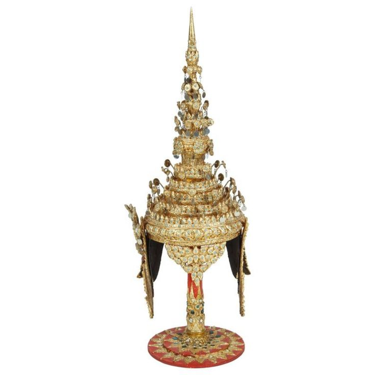 Buy Gilt Ceremonial Thai Headdress on Stand by Mosaik - Limited Edition designer Accessories from Dering Hall's collection of Rustic / Folk Decorative Objects.