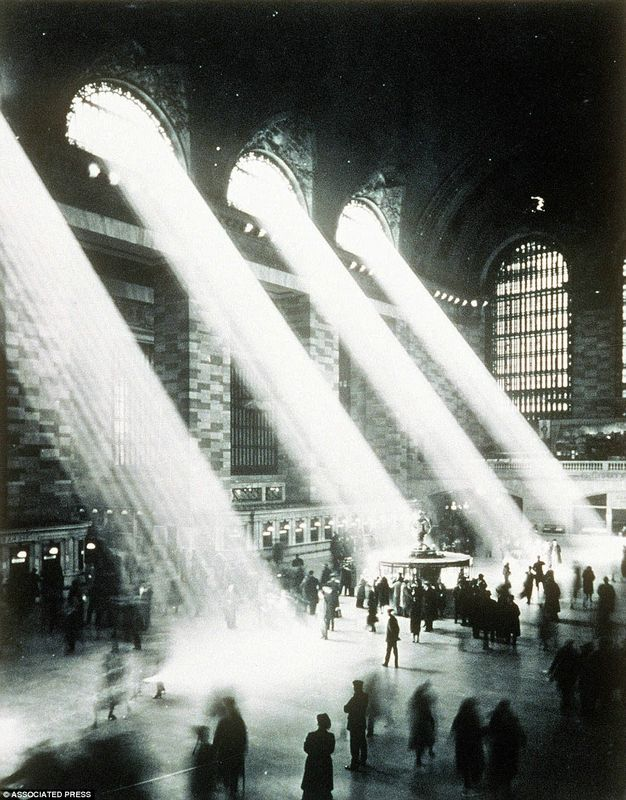 """1937: Grand Central Station as seen from the famous """"Campbell apartment"""" bar."""