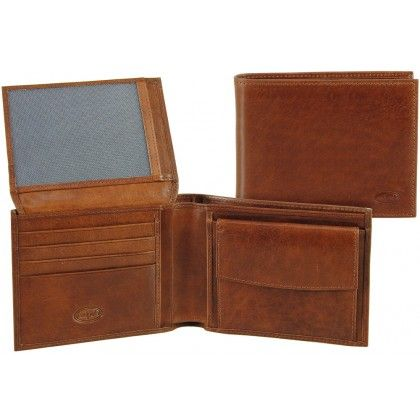 Men leather bifold wallet, coin 7 cards ID docs flap - Italian vegetable leather | Adpel | Made in Italy