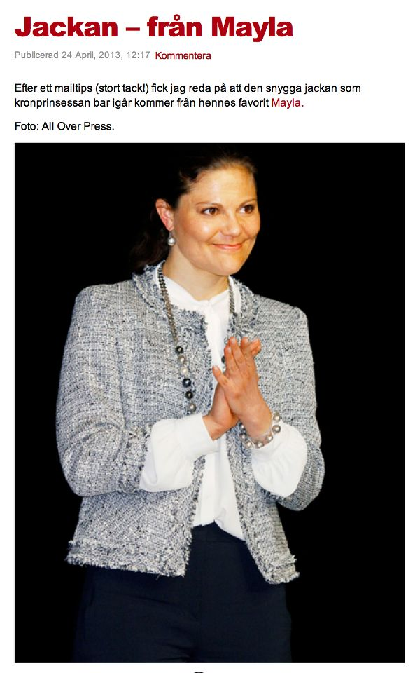 Crown Princess Victoria in the MAYLA Cleo Jacket as seen on Kungliga Modebloggen