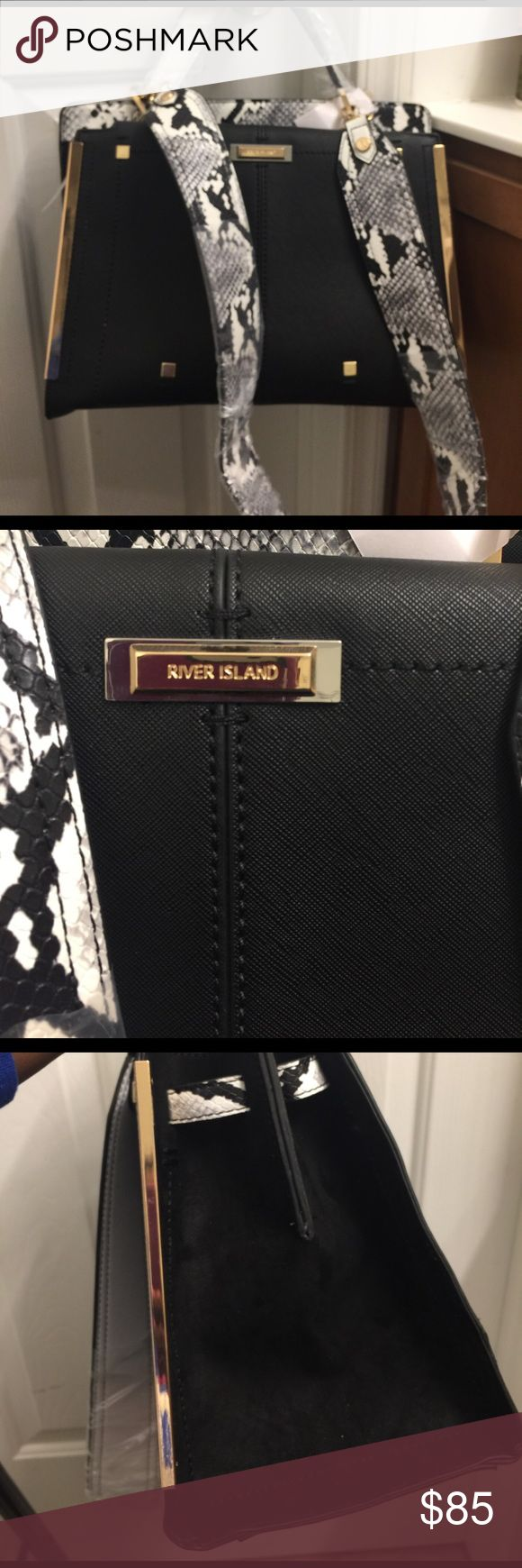 """New river island tote.  """"SOLD"""" Brand new River island tote with snake details and sued on the sides. Also has a long strap River Island Bags Totes"""