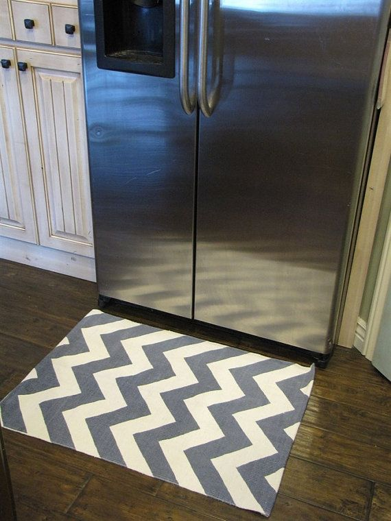 2X3 Gray,or Navy Chevron Rugs, great for Kitchens and bathrooms. on Etsy, $19.99
