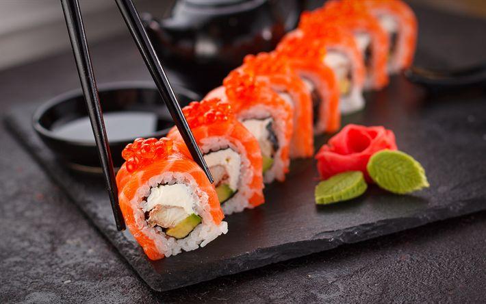 Herunterladen hintergrundbild sushi, 4k, philadelphia, brötchen, japanisches essen