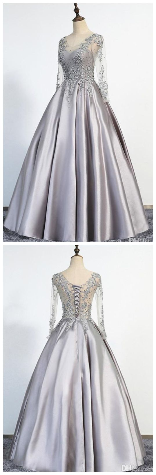 Cheap prom dresses ,Elegant Sliver Evening Dresses A-Line Scoop Illusion Lace Up Long Sleeves Floor Length Appliques Beading Real Picture Prom Gowns