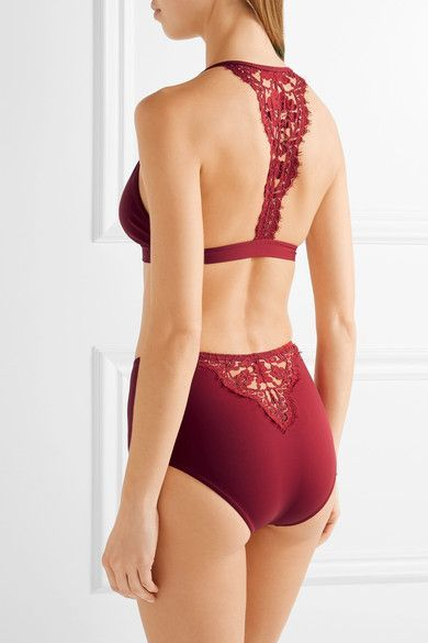 Claret stretch polyamide-blend and Chantilly lace Clasp fastening at front Fabric1: 50% polyamide, 27% viscose, 16% cotton, 7% elastane; fabric2: 70% polyamide, 5% viscose, 5% cotton, 20% elastane Hand wash Lotion, sunscreen, oil and chlorine can cause discoloration of this item; this is not a manufacturing defect. Please follow care instructions to keep your swimwear in the best condition Imported