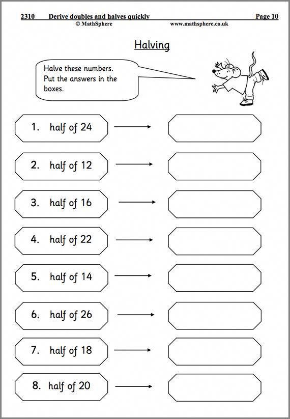Doubling And Halving Maths Worksheet Mathhomeworkhelp Free Printable Math Worksheets Math Worksheet Printable Math Worksheets