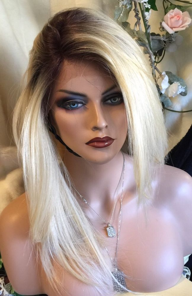 STUNNING-Human Hair Blend LACE FRONT Long Straight  Rooted Blonde Wig! #Unbranded #SwissLaceFront Auction started at $199