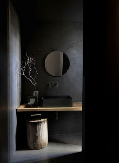 We adore dark spaces because they are relaxing, mysterious, eye-catching and different. So here are some amazing bathroom designs in this style.