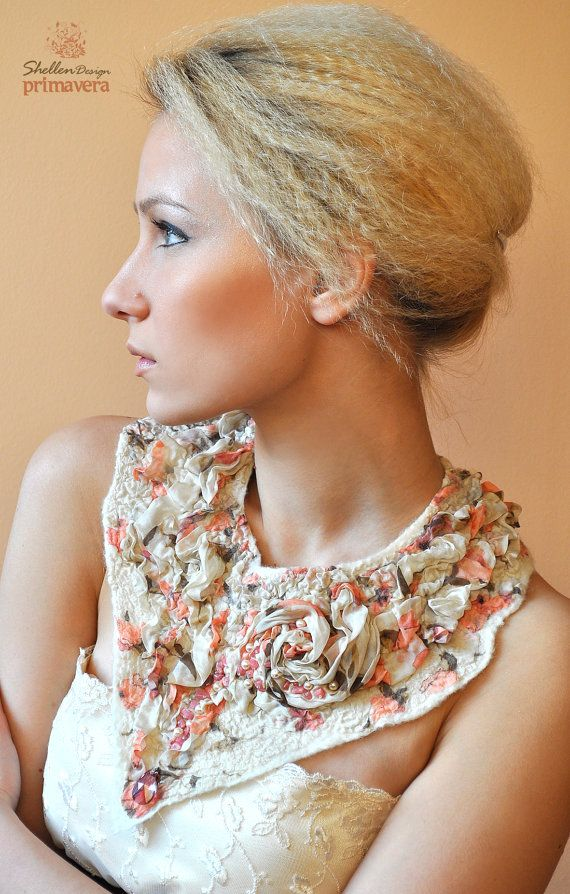 Hand+felted+nuno+Necklace+collar+Nude+Beige+Rose++Wool+by+ShellenD,+$75.00