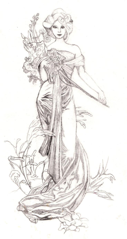 Dessin Vrouw Alfons Mucha: Tekening-Kleurplaat-Patroon-Prent *Drawing-Colouring Picture-Pattern ~Le Printemps~