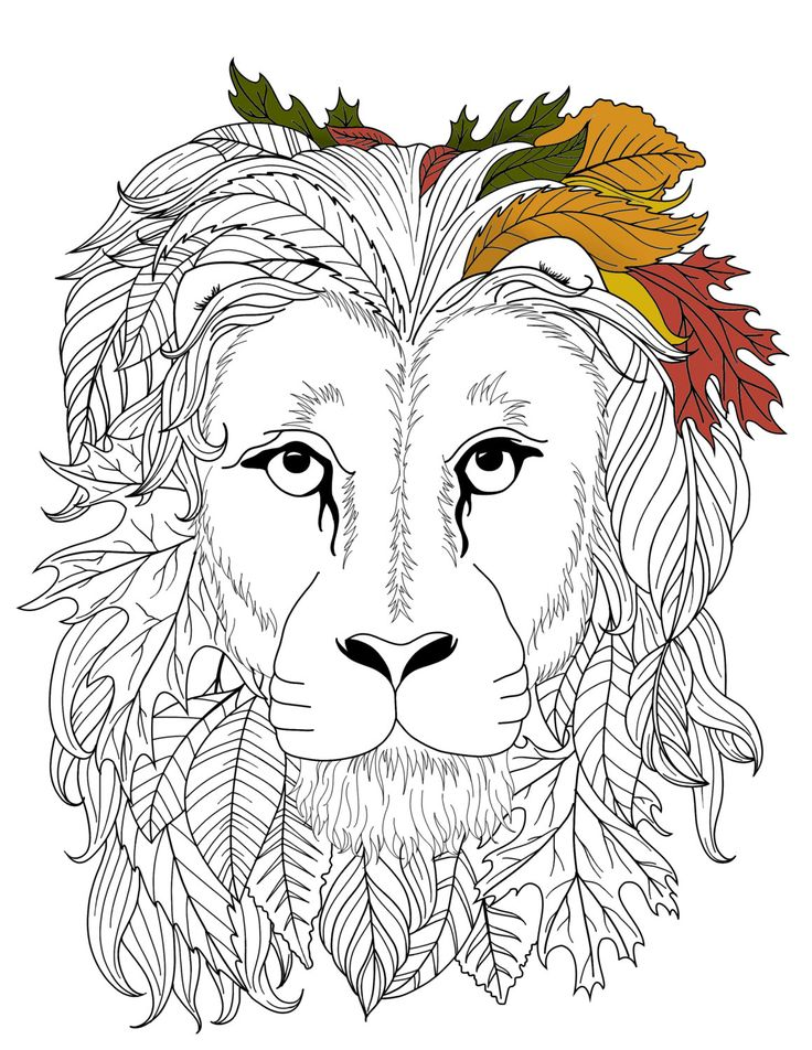 Printable Adult Coloring Page zentangle lion by