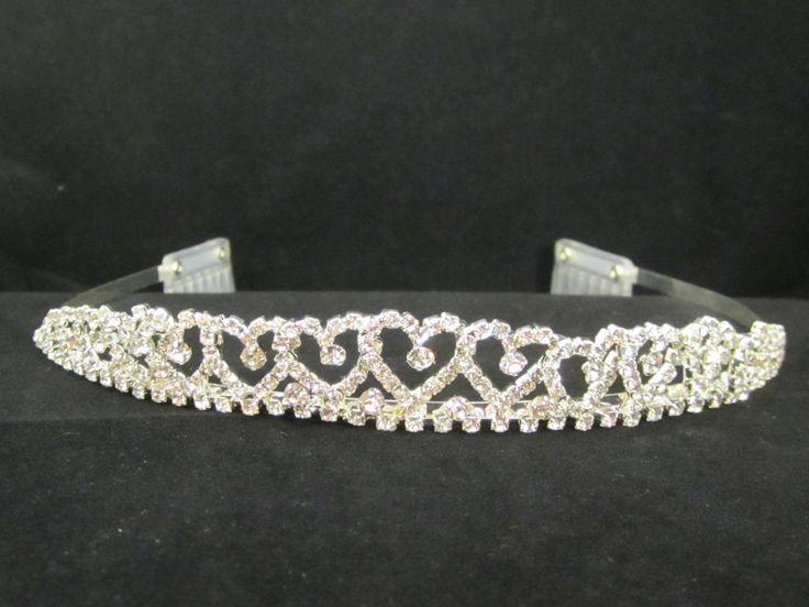 Rhinestone  princess  heart  bridal  tiara  - $13.95  each For  more  info  please  contact - Shoot  for  the  Moon  Jewelry  Designs (850) 230-9983 #Valentineweddings #bridaltiaras #Tiaras #rhinestones