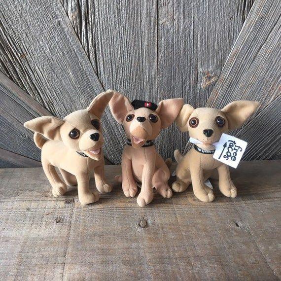 3 Vintage Taco Bell Chihuahua Plush 1990 Yo Quiero Taco Bell 7