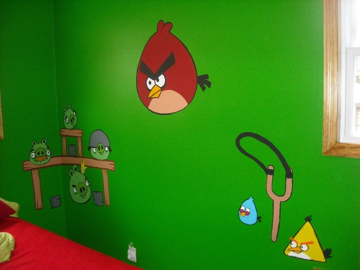 10 best images about boys 39 room ideas on pinterest grey for Angry bird wall mural