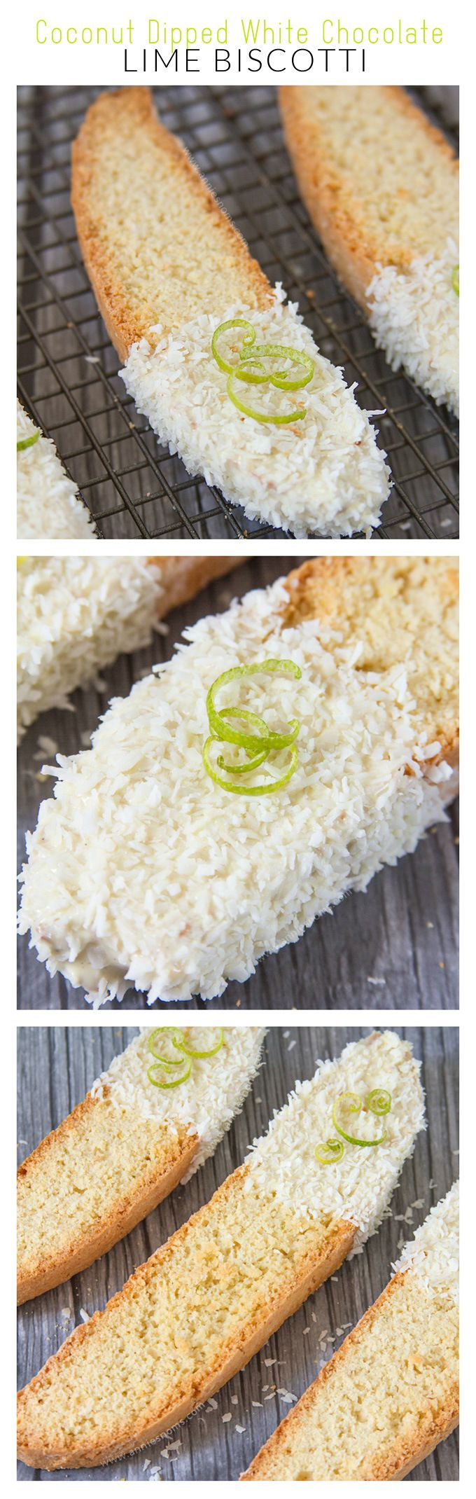 Lime Biscotti has flakes of coconut inside it and is then dipped in melted white chocolate before being covered in more coconut flakes.
