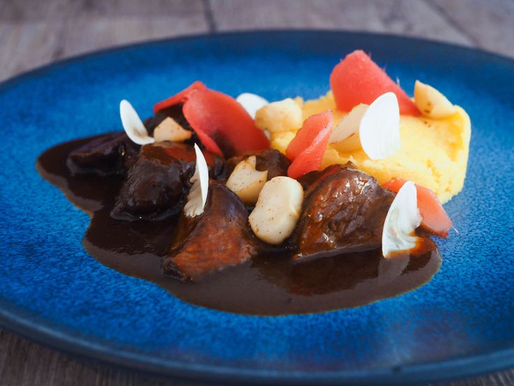 Braised pork cheeks, pink ginger, polenta and macadamia nuts | Oh My Chef