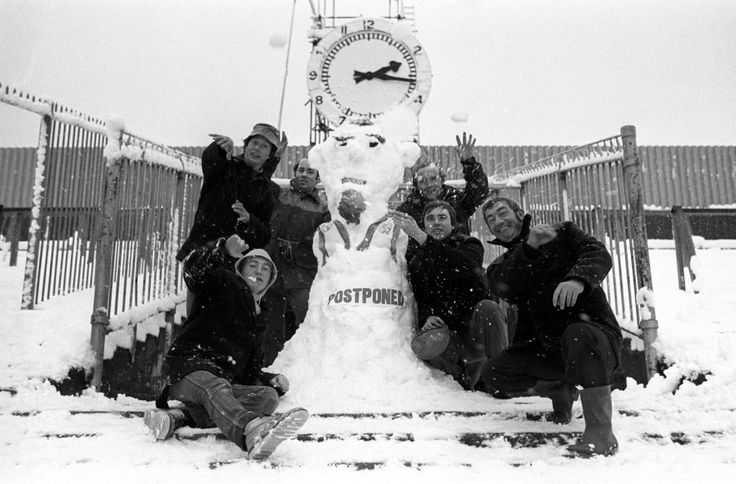 The Highbury groundsmen pose with the snowman that they built after Arsenal's match against Middlesborough was postponed, Dec 1981