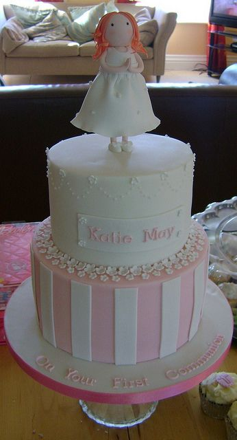 2-tier First Communion Cake - better photo by RubyteaCakes, via Flickr