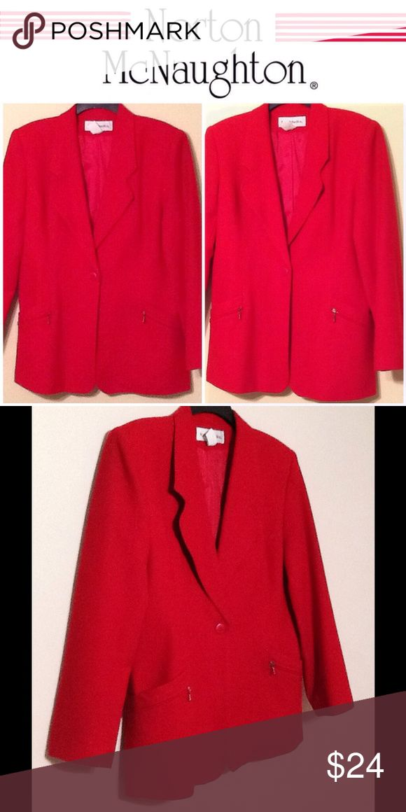 NORTON MC NAUGHTON RED WOOL BLAZER This is a true red basic blazer in very good condition. Sz 12 norton mcnaughton Jackets & Coats Blazers