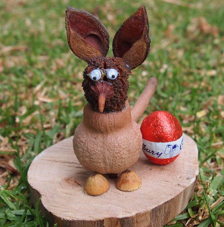 #Easter #Bilby - Gumnut body, Sheoak pod head, Hakea pod ears, Bushy Yate cap tail and little gumnut cap nose & feet.