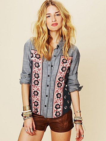 chambray shirt with bandana inset from Free People