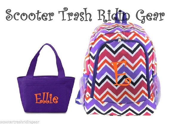 Personalized Backpack Lunch Bag Chevron Zig Zag by STRGembroidery, $54.99
