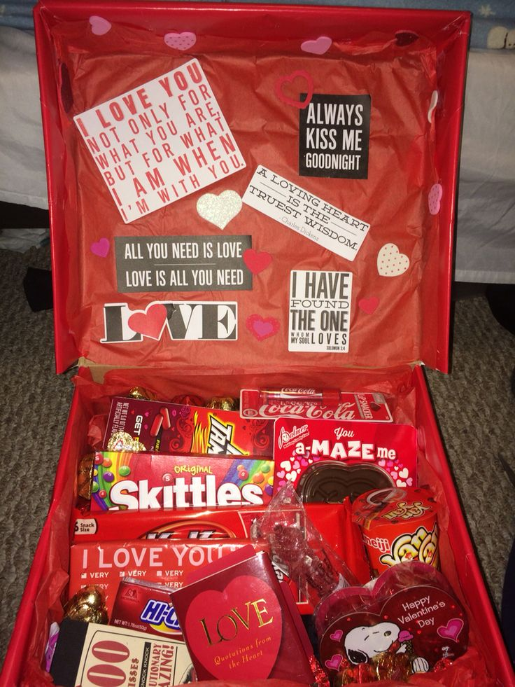 "Just made this for my boyfriend -- a spinoff of the ""sunshine in a box"" but with red items. I know he's going to love it. Remember when it comes to finding the correct color of items that you can always wrap them if they aren't the right color! I included  -beanie -boxer briefs -cologne -socks -coke lip smackers -LOTS OF CANDY -quote book & kiss tickets from Barnes and noble (around $5 each)"