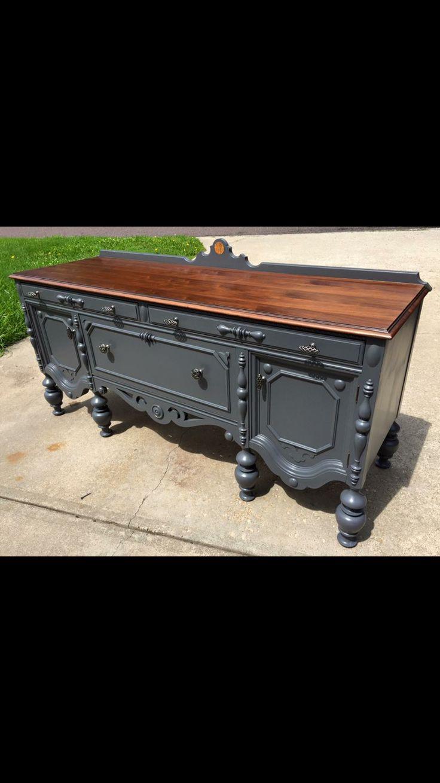 Facebook: Bray's Boom'n Furniture  Refinished grey  buffet / sideboard  https://www.pinterest.com/kylebray77/brays-boomn-furniture/