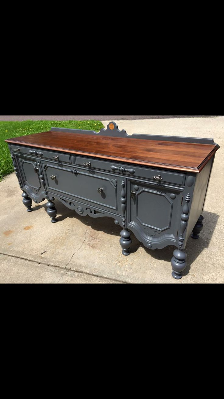 Facebook: Bray's Boom'n Furniture  Refinished grey  buffet / sideboard