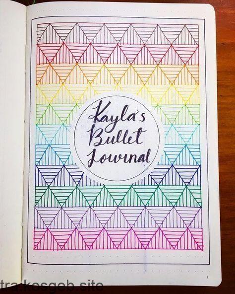 Deckblatt des Bullet-Journals, geometrische Zeichnungen #BecauseWritingHelps – #BecauseWritingHelps #BulletJournals #Deckblatt