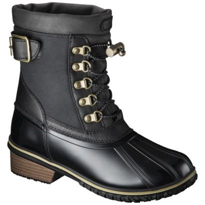 Dear Target, I bought these and they are awesome! You did a good job. I will call them vegan leather because apparently that's the cool thing to do when you didn't pay for leather. [Women's Merona® Nikko Winter Boots - Black]