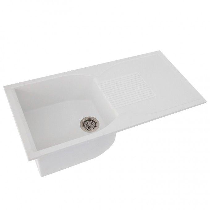 40 Ellerbee Man Made Granite Drop In Sink With Drainboard White Kitchen Sinks Kitchen