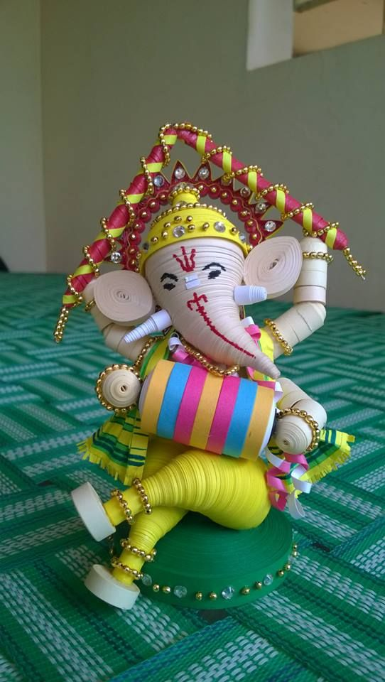 Quilled Pillayar .. Quilled Ganesha ... inspired from a pinterest image ... but modified a bit :)