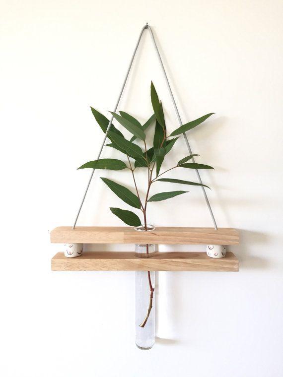 Wooden vase, minimalist vase,hanging vase, hanging planter, wall vase, test tube, reclaimed wood, minimalist, collaboration, things by bea