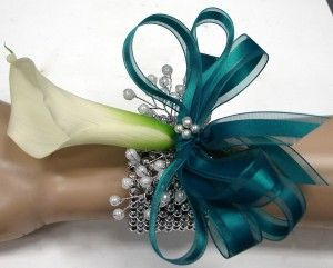 winter wedding white and teal cala lillies   mini calla lily corsage call or email for all calla lily colors ...