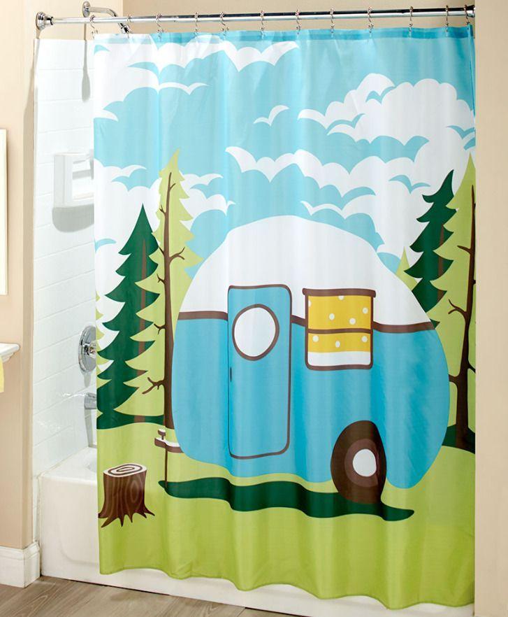 Travel Themed Fabric Shower Curtain Trailer Rv Camper Print Bathroom Whimsical Travelthemedfabricshowercurtai Retro Home Decor Retro Home Retro Shower Curtain