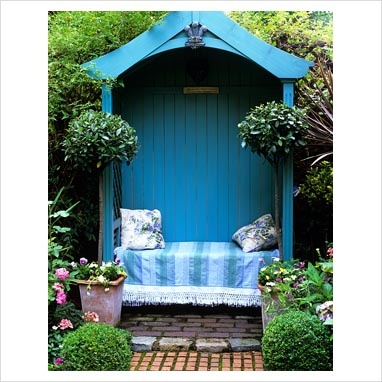 Blue timber arbour seat
