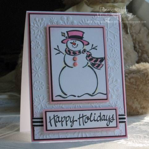 Yes, your Christmas card can be pink!  This snowman looks right at home on top of this embossed snowflake panel covered with stickles for added glitter.