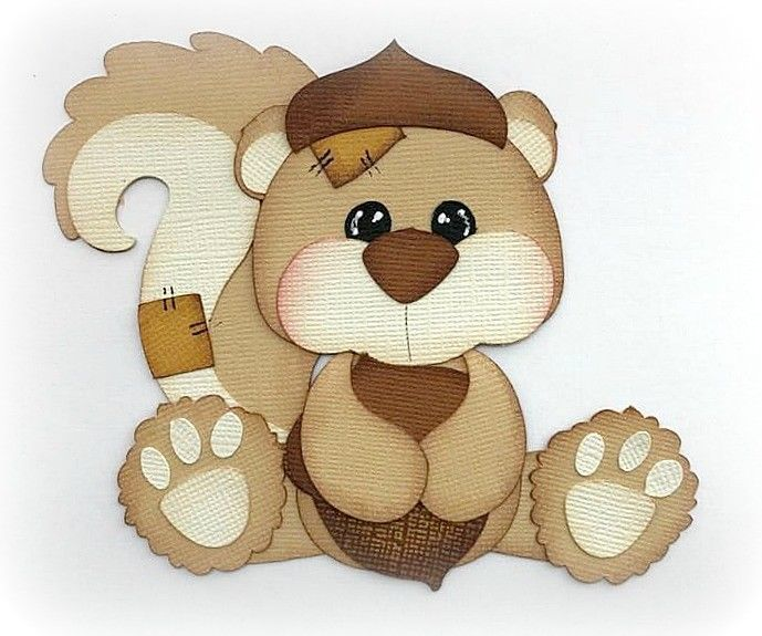COUNTRY PATCHED SQUIRREL PAPER PIECING PREMADE 3D DIE CUT MY TEAR BEARS KIRA #MYTEARBEARS