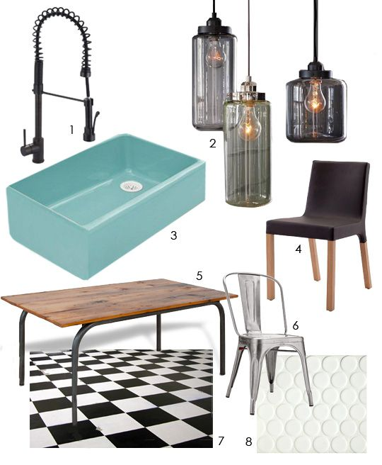"""""""Modern Industrial Farmhouse"""" kitchen design board. Brass Spring Pull Industrial Brass faucet by Premier. Glass jar pendants by West Elm. Palermo Blue farmhouse sink by Kohler. Knicker dining chair by Blu Dot (www.bluedot.com). Pipedream reclaimed pine table by Vermont Farm Table (www.vermontfarmtable.com)."""