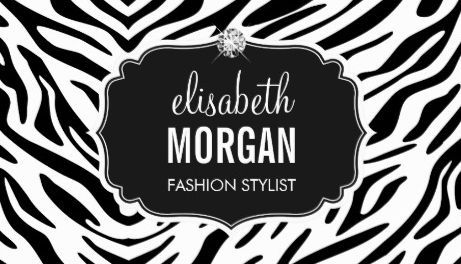 112 best girly animal print business cards images on pinterest trendy black and white zebra print shiny diamond fashion stylist business cards http reheart Choice Image