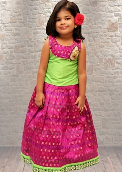Baby Girl Pattu Langa Designs Kids In Indian Wear