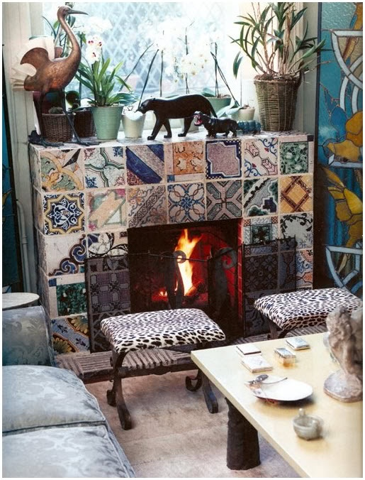 Perfection Fireplace Part - 41: Fireplace Love Hand Painted Tiles