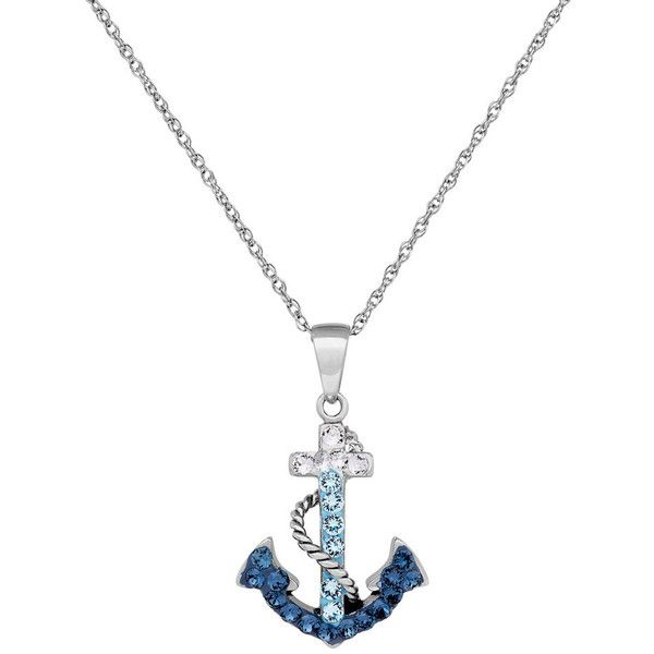 Artistique Sterling Silver Crystal Anchor Pendant Necklace ($125) ❤ liked on Polyvore featuring jewelry, necklaces, blue, chain pendant necklace, chain necklaces, pendant necklaces, sterling silver necklace and sterling silver anchor necklace