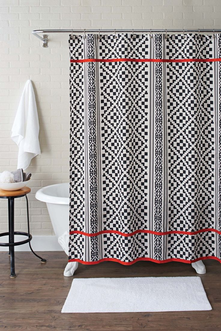 Chevron bathroom sets with shower curtain and rugs - Aztec Shower Curtain Chf