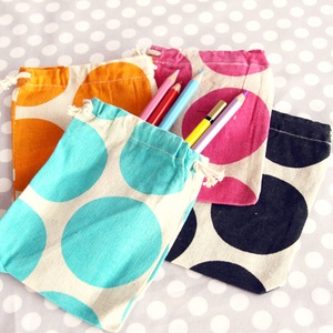 big polka dot drawstring bags